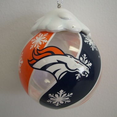 Denver Broncos Light Up Glass Ball Ornament