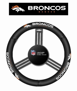 Denver Broncos Leather Steering Wheel Cover