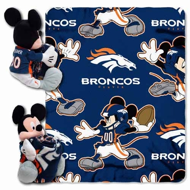 Denver Broncos Mickey Mouse Pillow / Throw Combo