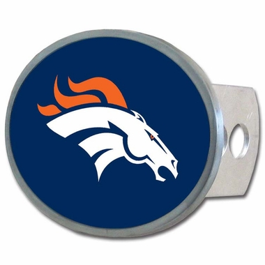 Denver Broncos Oval Metal Hitch Cover Class II and III (F)