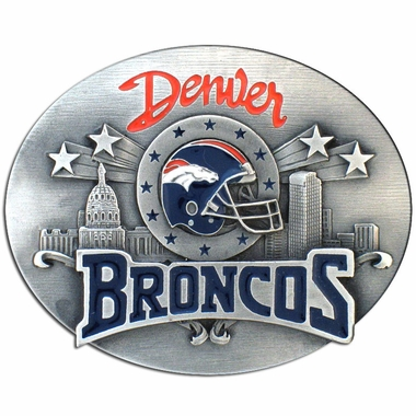 Denver Broncos Enameled Belt Buckle