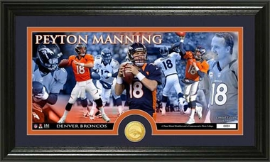 Denver Broncos Peyton Manning Bronze Coin Panoramic Photo Mint
