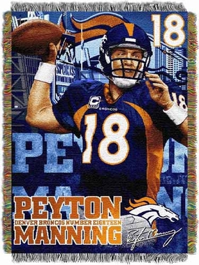 Denver Broncos Peyton Manning Woven Tapestry Throw Blanket
