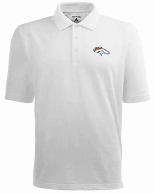 Denver Broncos Mens Pique Xtra Lite Polo Shirt (Color: White)