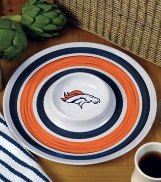Denver Broncos Plastic Chip and Dip Plate