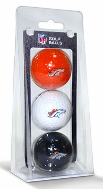 Denver Broncos Set of 3 Multicolor Golf Balls