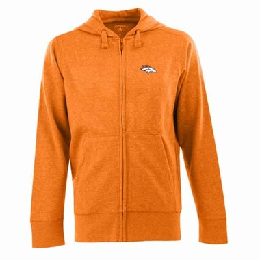 Denver Broncos Mens Signature Full Zip Hooded Sweatshirt (Alternate Color: Orange)