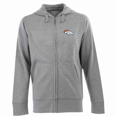 Denver Broncos Mens Signature Full Zip Hooded Sweatshirt (Color: Gray)
