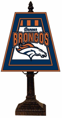 Denver Broncos Small Art Glass Lamp
