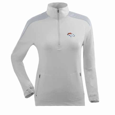Denver Broncos Womens Succeed 1/4 Zip Performance Pullover (Color: White)