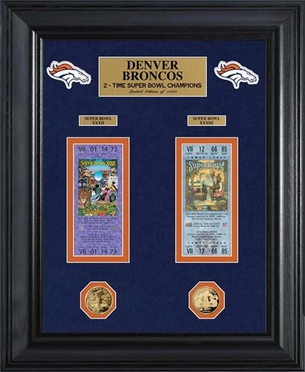 Denver Broncos Denver Broncos Super Bowl Ticket and Game Coin Collection Framed