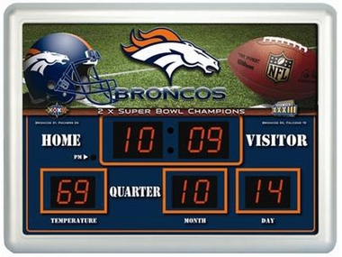 Denver Broncos Time / Date / Temp. Scoreboard