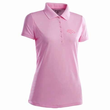 Denver Broncos Womens Pique Xtra Lite Polo Shirt (Color: Pink)