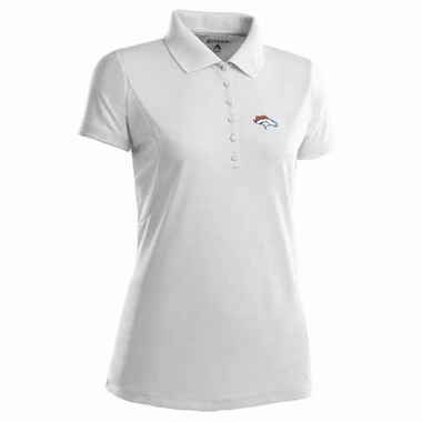 Denver Broncos Womens Pique Xtra Lite Polo Shirt (Color: White)