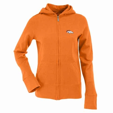 Denver Broncos Womens Zip Front Hoody Sweatshirt (Alternate Color: Orange)