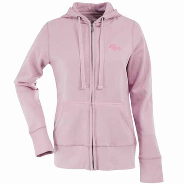 Denver Broncos Womens Zip Front Hoody Sweatshirt (Color: Pink)