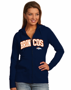 Denver Broncos Applique Womens Zip Front Hoody Sweatshirt (Team Color: Navy) - Large