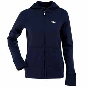 Denver Broncos Womens Zip Front Hoody Sweatshirt (Color: Navy) - X-Large