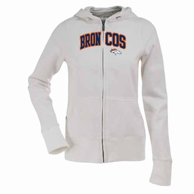 Denver Broncos Applique Womens Zip Front Hoody Sweatshirt (Color: White)