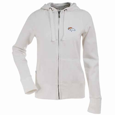 Denver Broncos Womens Zip Front Hoody Sweatshirt (Color: White)