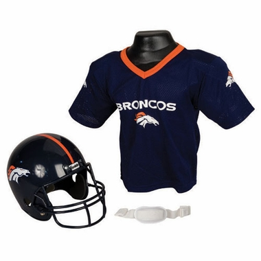Denver Broncos Youth Helmet and Jersey Set