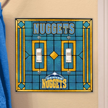 Denver Nuggets Art Glass Lightswitch Cover (Double)