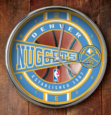 Denver Nuggets Chrome Clock