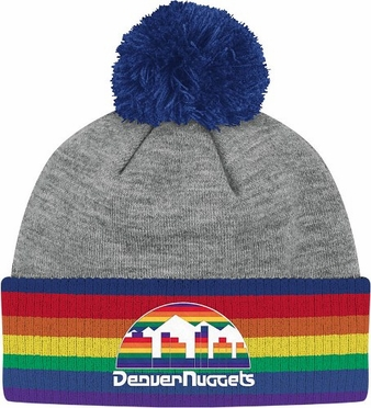 Denver Nuggets Jersey Stripe Vintage Cuffed Pom Hat (Grey)