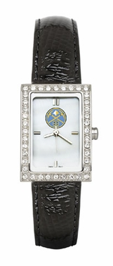 Denver Nuggets Women's Black Leather Strap Allure Watch