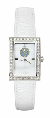 Denver Nuggets Women's White Leather Strap Allure Watch