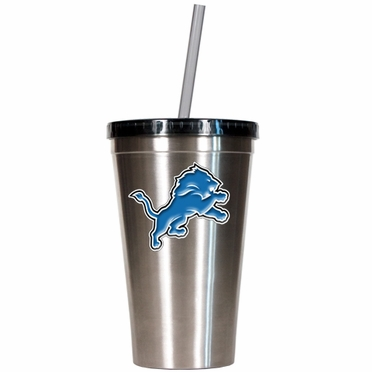 Detroit Lions 16oz Stainless Steel Insulated Tumbler with Straw