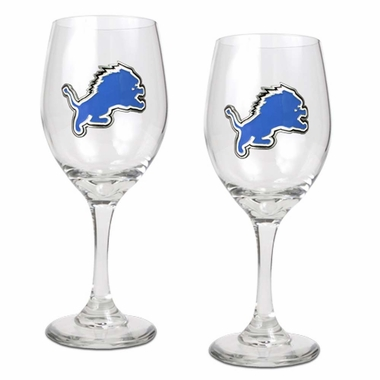 Detroit Lions 2 Piece Wine Glass Set