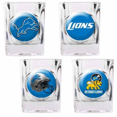 Detroit Lions 4 Piece Assorted Shot Glass Set