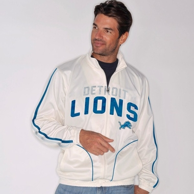 Detroit Lions All American Full Zip Vintage White Track Jacket
