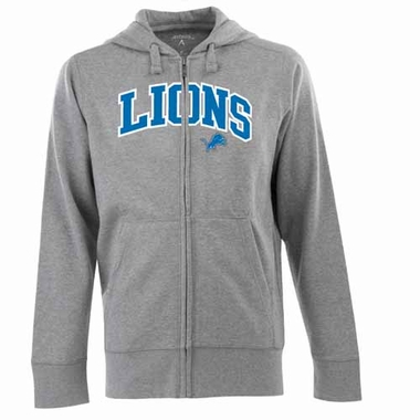 Detroit Lions Mens Applique Full Zip Hooded Sweatshirt (Color: Gray)