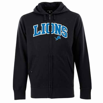 Detroit Lions Mens Applique Full Zip Hooded Sweatshirt (Team Color: Black)