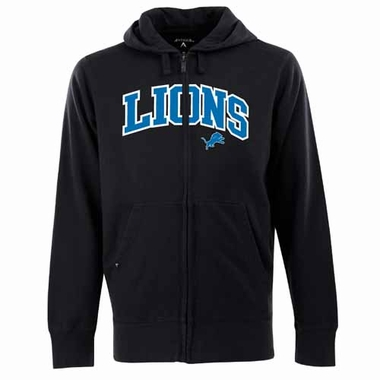 Detroit Lions Mens Applique Full Zip Hooded Sweatshirt (Color: Black)