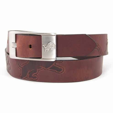 Detroit Lions Brown Leather Brandished Belt