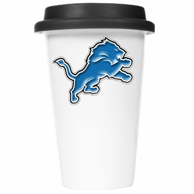 Detroit Lions Ceramic Travel Cup (Black Lid)