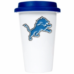 Detroit Lions Ceramic Travel Cup (Team Color Lid)