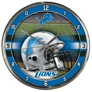 Detroit Lions Round Chrome Wall Clock