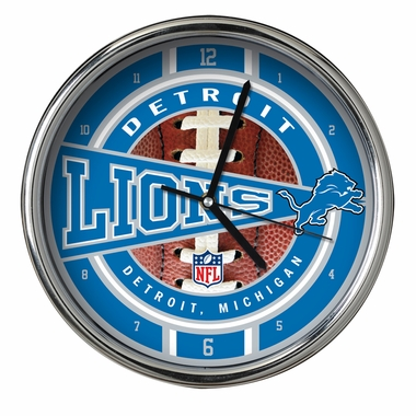 Detroit Lions Chrome Clock