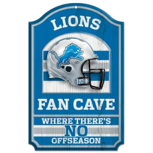 "Detroit Lions Wood Sign - 11""x17"" Fan Cave Design"