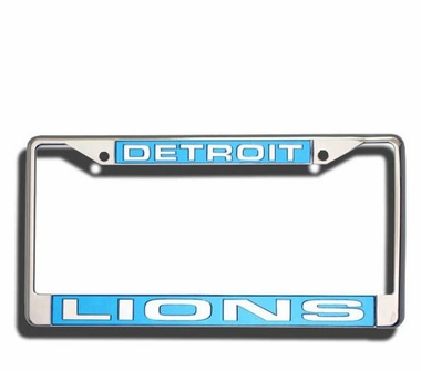 Detroit Lions Laser Etched Chrome License Plate Frame