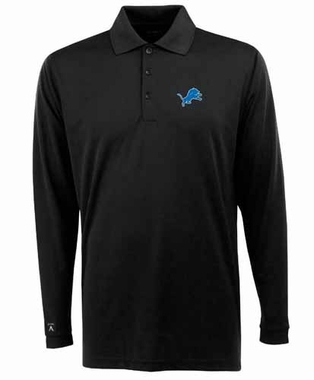 Detroit Lions Mens Long Sleeve Polo Shirt (Team Color: Black)