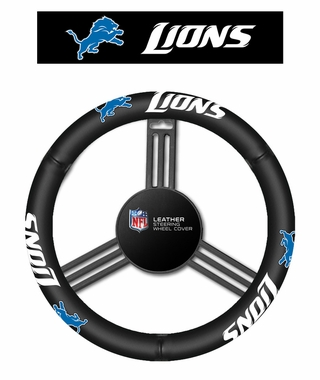 Detroit Lions Steering Wheel Cover - Leather
