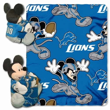 Detroit Lions Mickey Mouse Pillow / Throw Combo