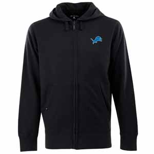 Detroit Lions Mens Signature Full Zip Hooded Sweatshirt (Color: Black) - Large