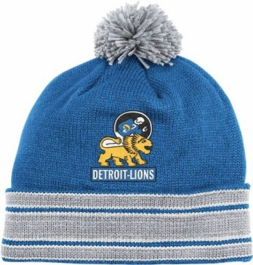 Detroit Lions Throwback Jersey Stripe Cuffed Knit Hat w/ Pom