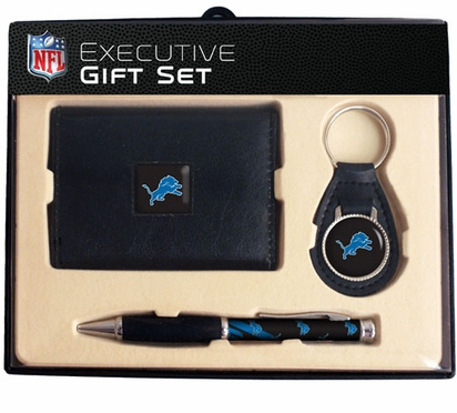 Detroit Lions Trifold Wallet Key Fob and Pen Gift Set